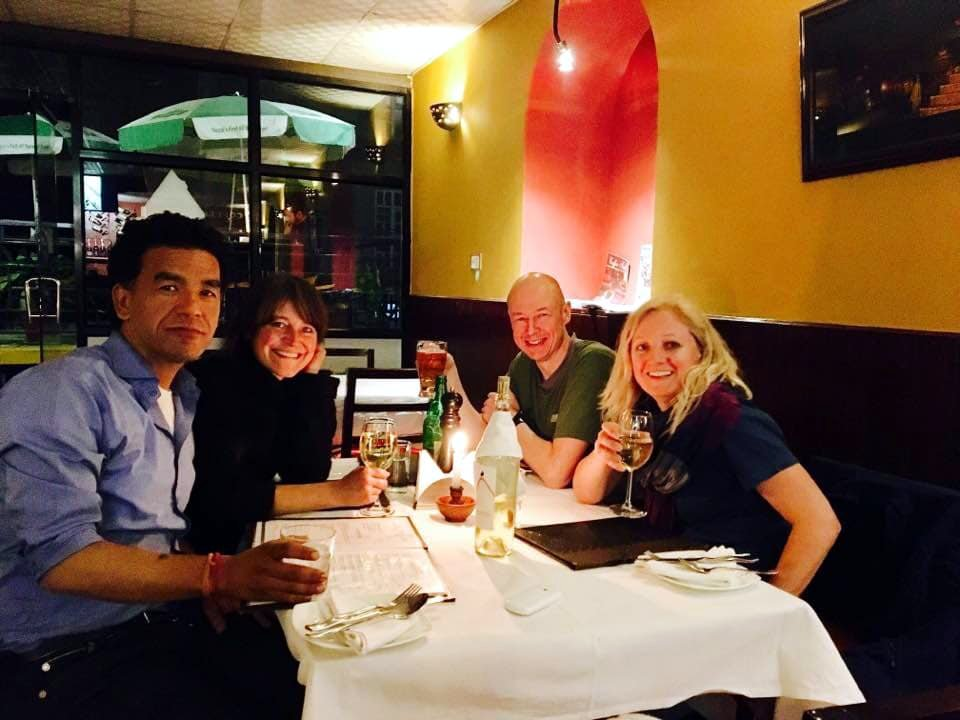 Pujan and Michelle with myself and Edita enjoying a meal at the Blueberry Café in Kathmandu (Photo: Edita Horrell)