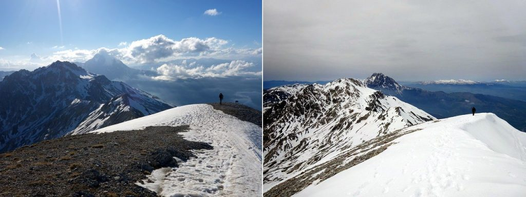 May 2017 and April 2019: the same view in different circumstances. Edita approaches the summit of Monte Camicia, with Monte Prena behind, Corno Grande rising behind that, and the snowline of Monte Gorzano on the far horizon