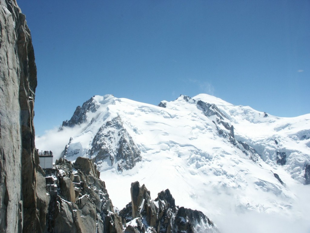 Mont Blanc du Tacul and Mont Blanc, seen from the café at Aiguille du Midi cable car station