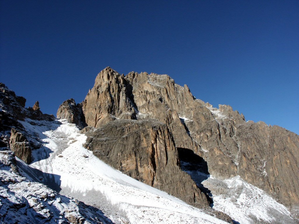 Nelion (left) and Batian (behind). Mt Kenya's twin summits are both serious multi-pitch rock climbs.