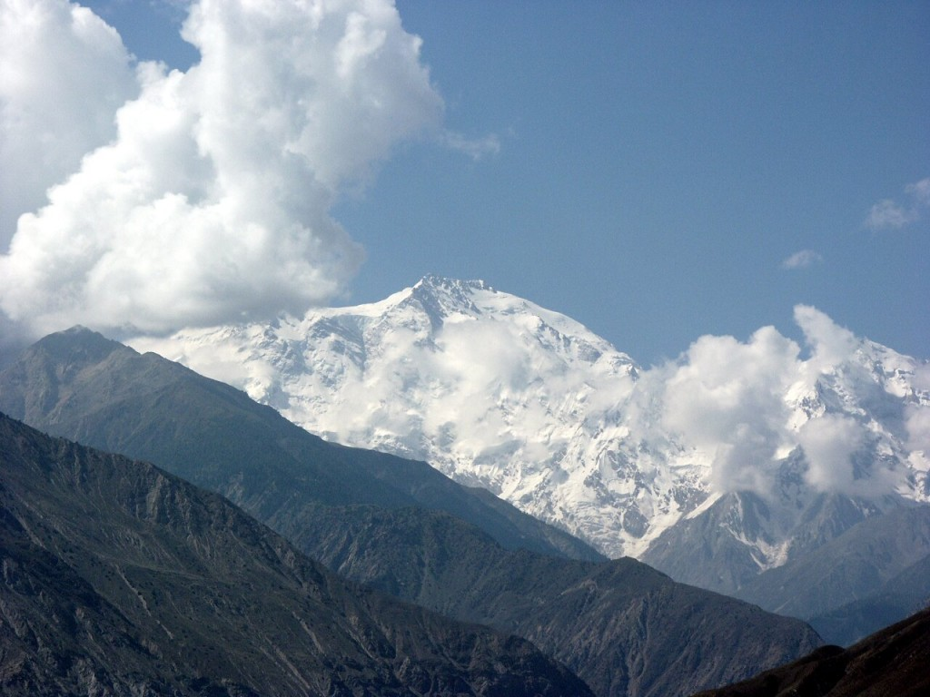 Nanga Parbat (8125m), the 9th highest mountain in the world, from the Karakoram Highway north of Chilas