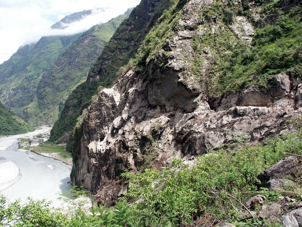 Trekkers on the Marsyangdi section of the Annapurna Circuit often find the trail has disappeared into the river