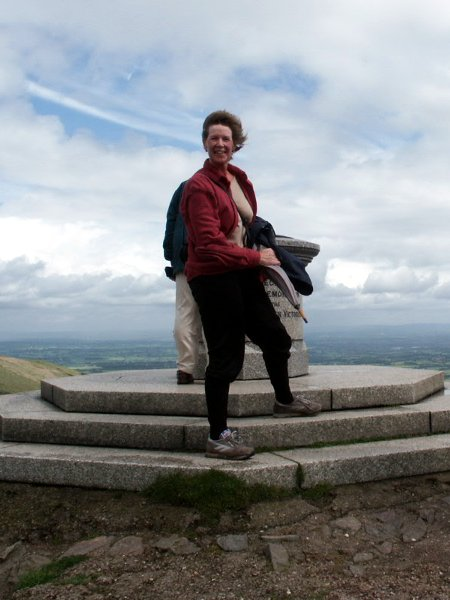 My mother Elisabeth on the summit of Worcestershire Beacon in the Malvern Hills, May 2003