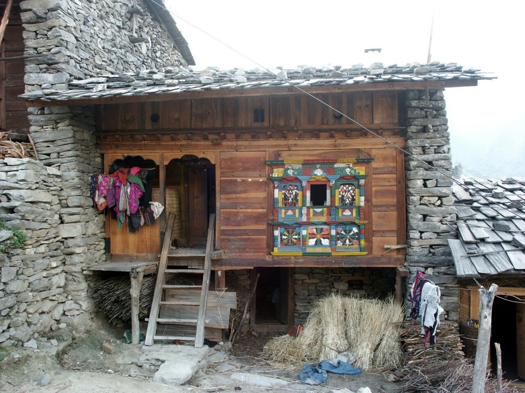 Colourful stone house in Gatlang on the Tamang Heritage Trail