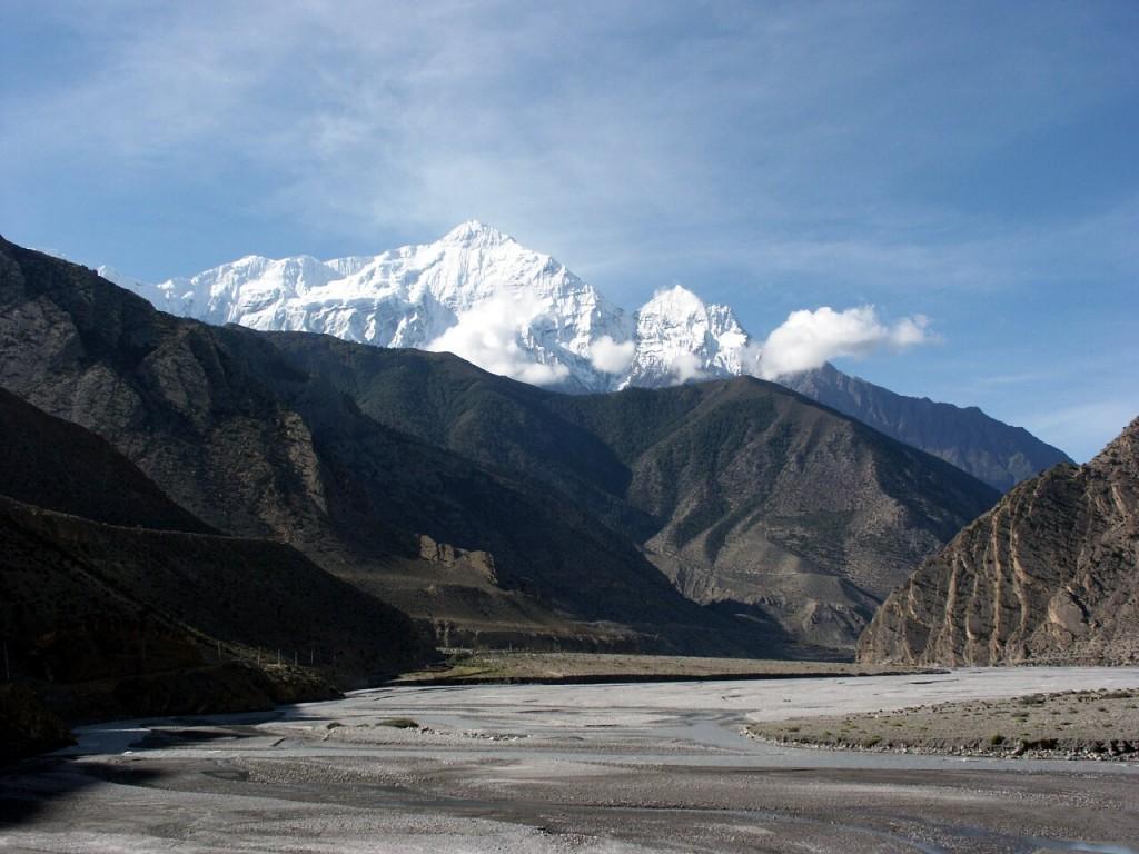 Looking along the Kali Gandaki valley to Nilgiri North on the Annapurna Circuit