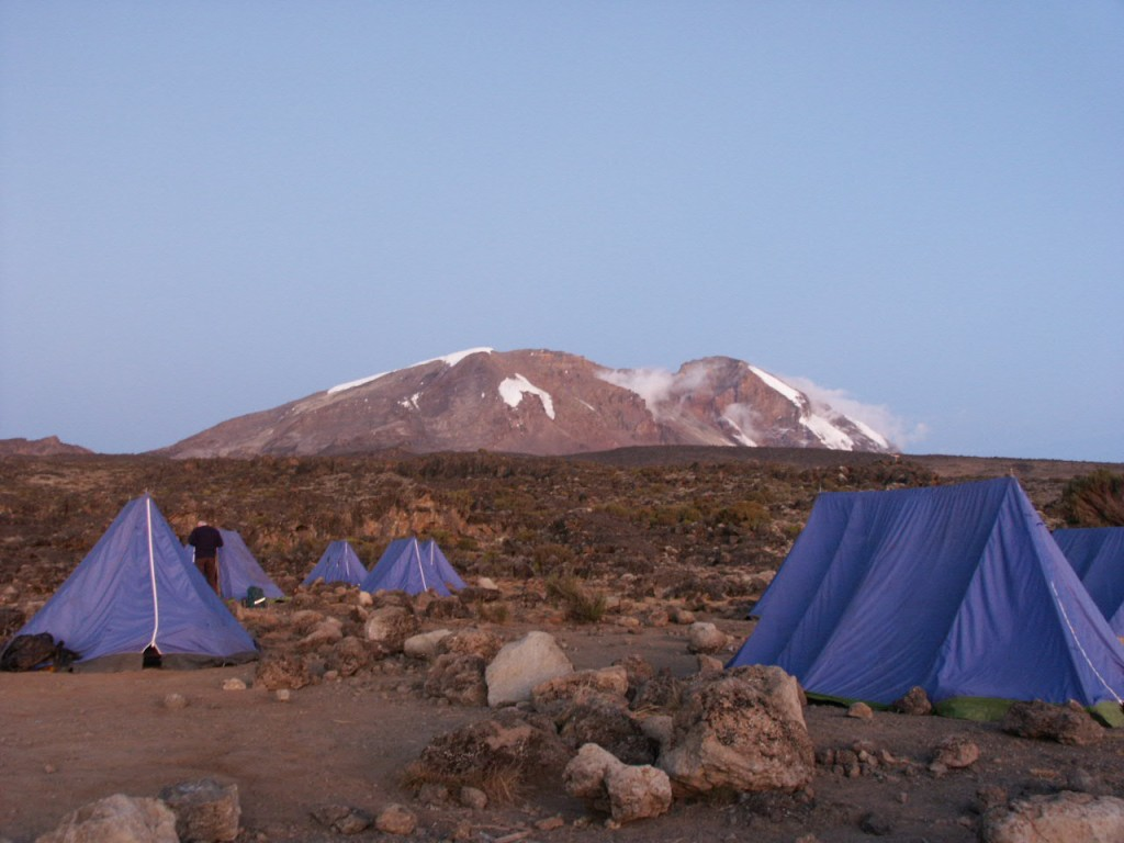 Kibo, Kilimanjaro's central summit, from the Shira Plateau