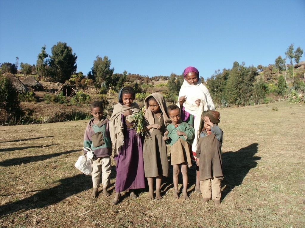 Friendly children in Geech village