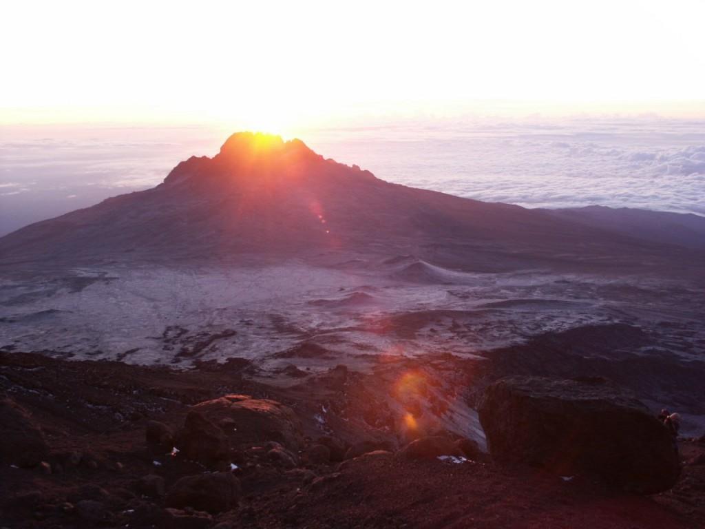 Dawn over Mawenzi (5149m) during the summit ascent of Kibo, Kilimanjaro