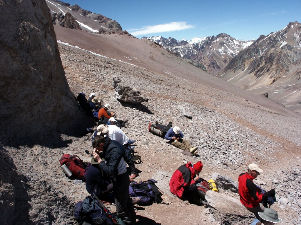 Lunch at Conway Rocks on Aconcagua's Normal Route