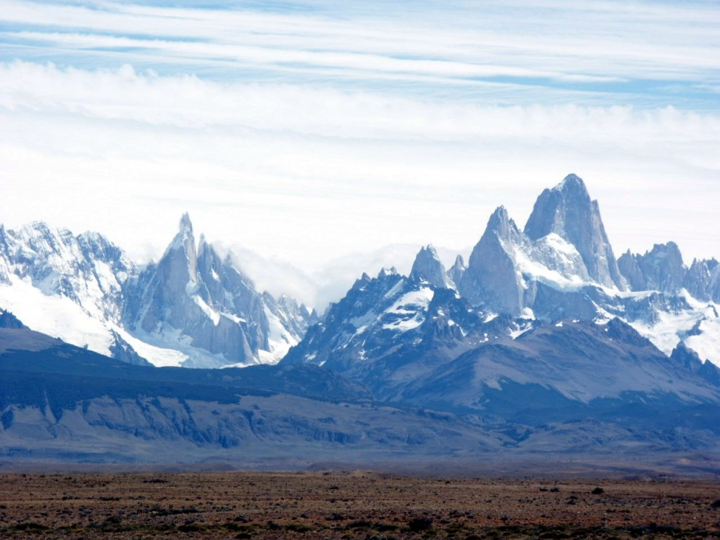 Cerro Torre and Monte Fitzroy, from the Patagonian steppe near El Chalten