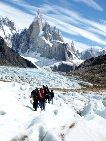 Trekking across the Torre Glacier, with Cerro Torre behind