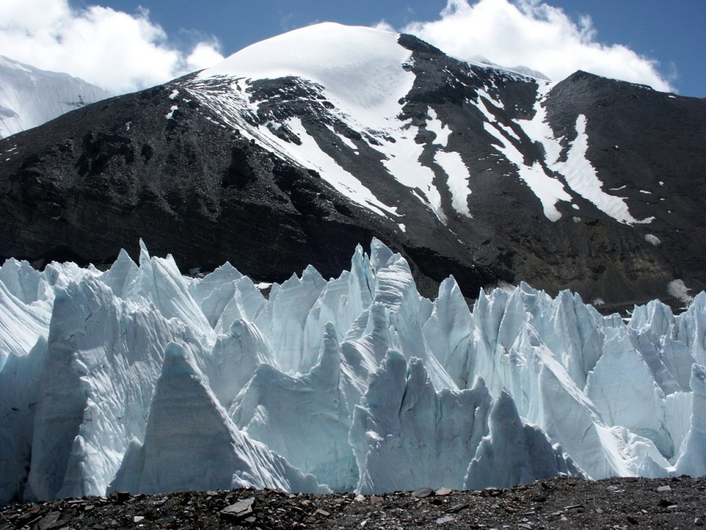 Jagged ice pinnacles on the East Rongbuk Glacier