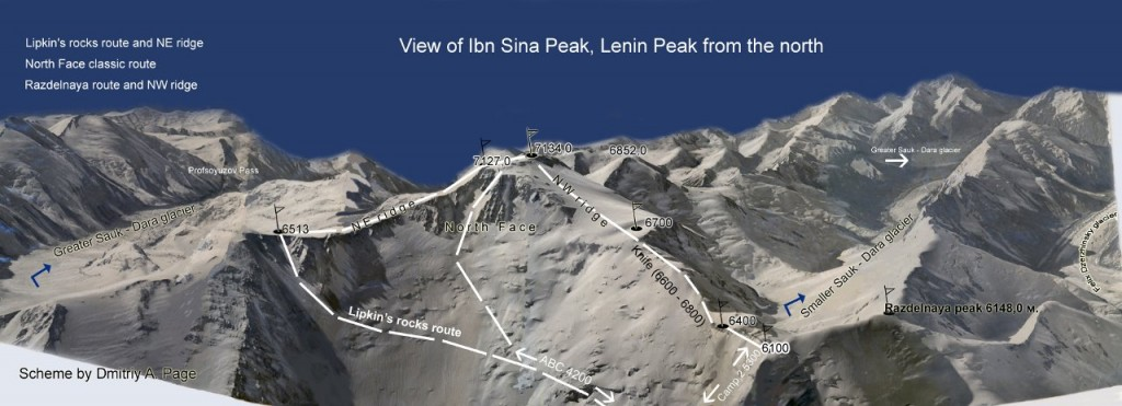 Peak Lenin climbing routes from the Kyrgyzstan side (Photo: Dmitriy Page)