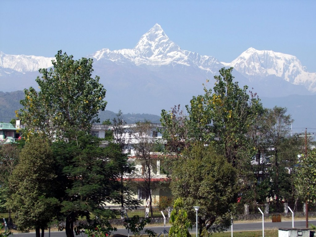 Many people's first view of Machapuchare is from the town of Pokhara