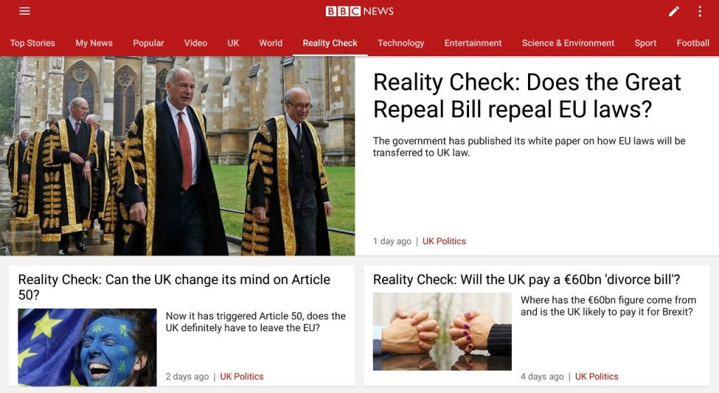 BBC Reality Check: Brexit seems to provide a rich source of material for them