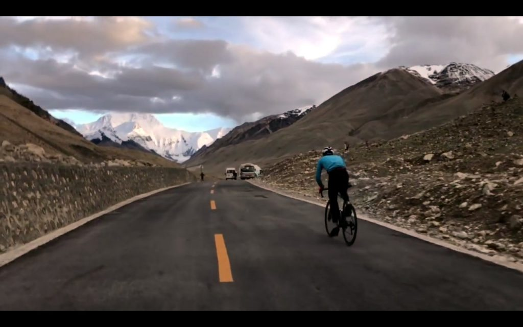 JJ Zhou completes the first ever Everesting of Everest (Photo: Serk Cycling)