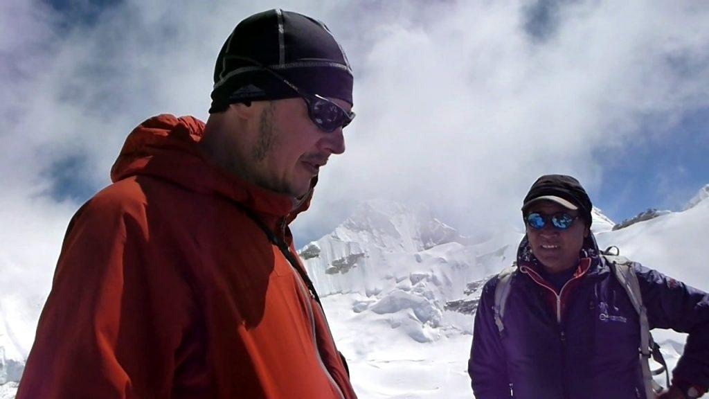 Gombu and I discuss how Kangchenjunga came by its name on the summit of Drohmo Ri
