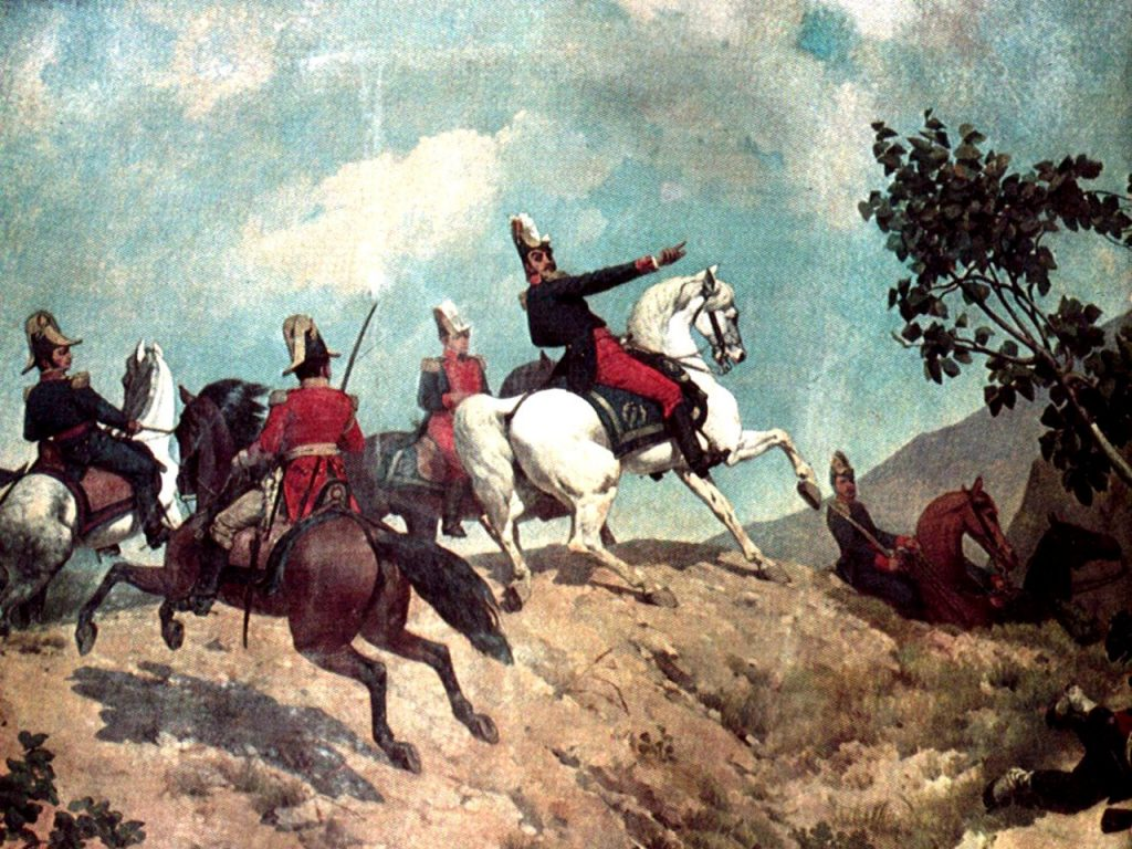 Simon Bolivar leads his forces in the Battle of Carabobo (Picture: Palacio Federal Legislativo, Caracas / Wikimedia Commons)