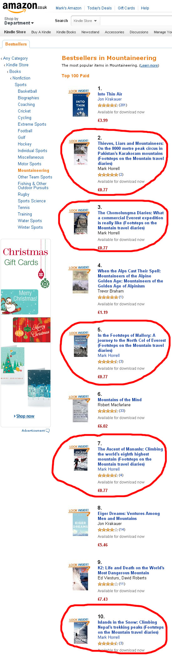 Evidence that Amazon UK readers quite like light-hearted travel books