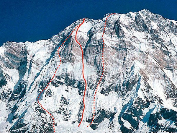 Ueli Steck's route up the South Face of Annapurna (red line), with the 1970 British route on the left and 1981 Japanese route on the right (Photo: Wolfgang Beyer)