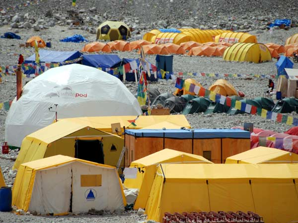 In 2007 base camp on the north side of Everest was a small tented town (Photo: Bunter Anson)