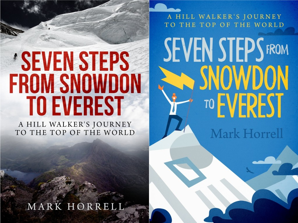 Seven Steps from Snowdon to Everest. Concept A: Photographic (left) and Concept B: Artwork (right)