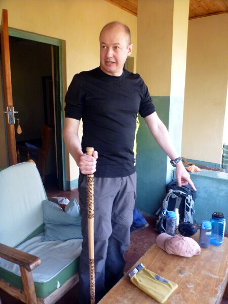 Before leaving we were presented with sturdy hand-carved Mulanje cedar walking poles to assist us on the climb (Photo: Edita Nichols)