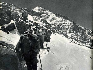 Proceeding cautiously on a snow-covered rocky slope at 8000m on Everest North Face first ascent, 1960 (Photo: People's Physical Culture Publishing House, taken from the book Mountaineering in China, 1965)