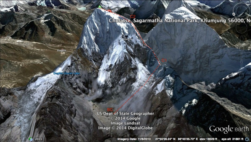Google Earth image of Cholatse with Base Camp (BC), Camp 1 (C1) and Camp 2 (C2) marked (thanks to Phil Crampton)