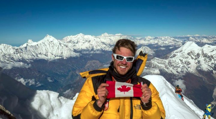 Canadian Christopher Manning on the summit on Manaslu (Photo: Christopher Manning)