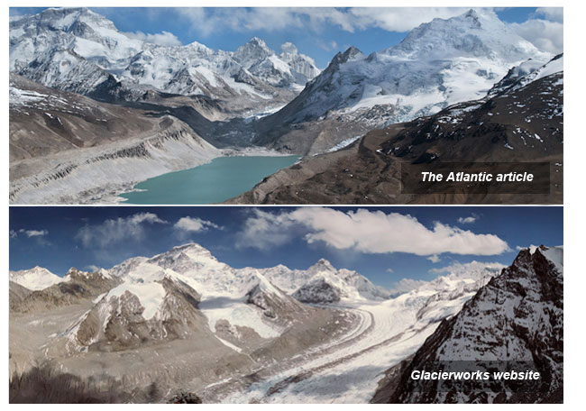 Two photographs of the same glacier in 2009