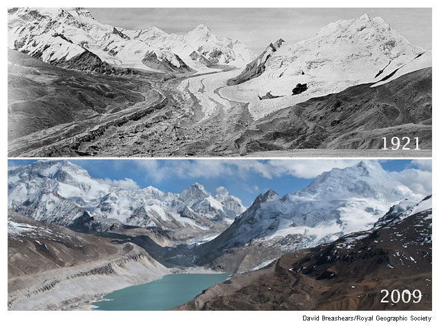 Evidence of glacier erosion in the Himalayas, taken from The Atlantic magazine