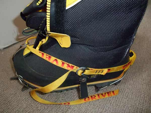 Grivel G14 crampon fitted to La Sportiva Olympus Mons boot