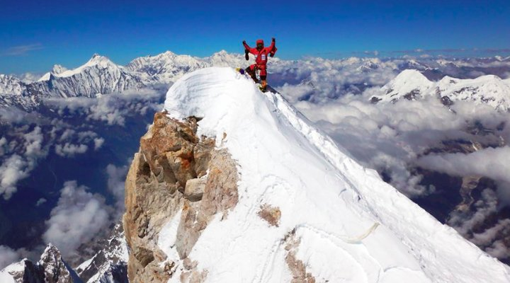 Danilo Callegari on the summit of Manaslu (Photo: Danilo Callegari)