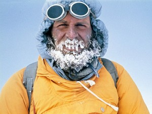 Mountaineering legend Kurt Diemberger sports an icicle beard on the summit of Shartse in Nepal (Photo: Kurt Diemberger)