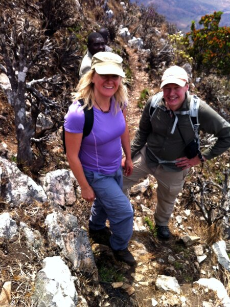 Edita and me near the top of the East Ridge during the descent from the Mafinga Hills (Photo: Edita Nichols)