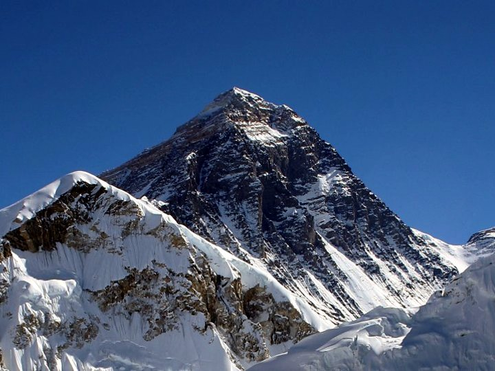 The Southeast Ridge and South Col of Everest (right hand skyline). Can you imagine what it's like up there in a storm? (Photo: Pavel Novak)