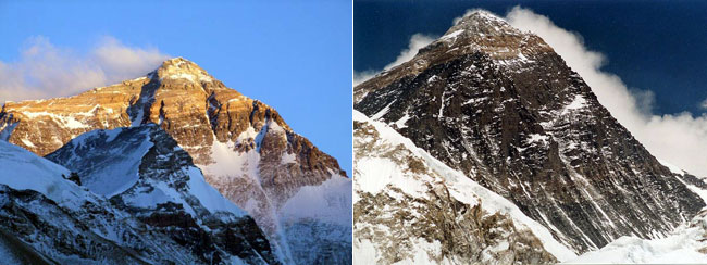 On the left: Everest from the north, Tibet (Photo: Mark Horrell). On the right: Everest from the south, Nepal (Photo: Uwe Gille)