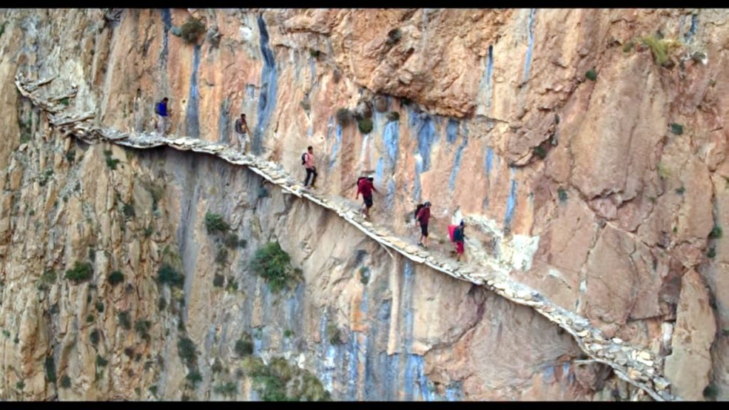 One of my favourite parts of the film was this dramatic hanging pathway in Morocco