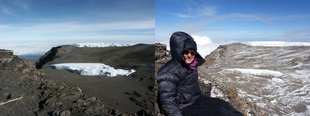 The Furtwangler Glacier, Kilimanjaro, from Uhuru Peak, in 2002 (left) and in 2016 (right) (Photos: Mark Horrell)