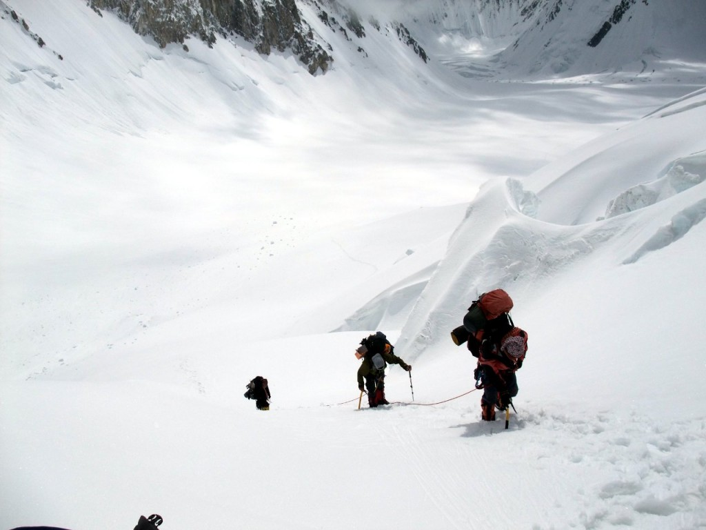 Heavy loads and sun reflecting off snow - Gasherbrum in the heat of the afternoon sun is thirsty work