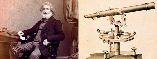 On the left: Sir George Everest, Surveyor General of India. On the right: His favourite implement, a theodolite (Photo: US National Oceanic and Atmospheric Administration)