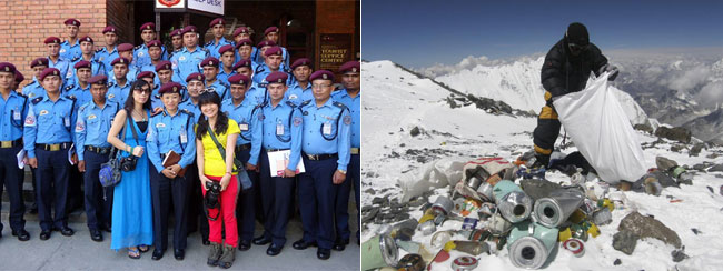On the left: These friendly tourist police will soon be stationed at Everest Base Camp (Photo: Nepal Police). On the right: High altitude litter picking on the South Col (Photo: AFP)