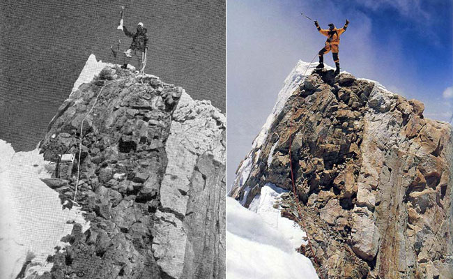 On the left is Gyaltsen Norbu Sherpa standing on the summit of Manaslu in 1956 (Photo: Toshio Imanishi), and on the right is Veikka Gustafsson, there in 1999 (Photo: Ed Viesturs)