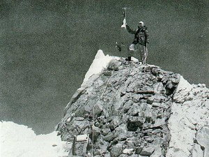 The classic shot of Gyalzen Norbu Sherpa on the summit of Manaslu after the first ascent (Photo: Toshio Imanishi)