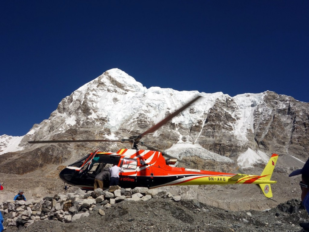 Helicopters took Nirmal Purja from base camp to base camp on each peak
