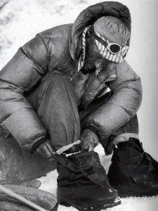 Edmund Hillary putting on his high altitude boots (Photo: Royal Geographical Society)