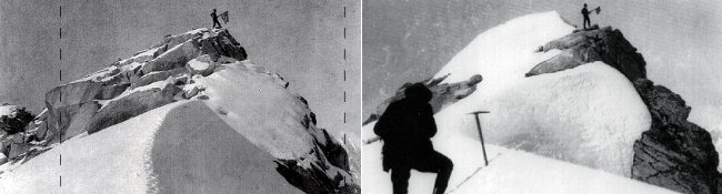 Left: Frederick Cook's famous 1906 Denali fake summit photo. The dotted line indicates the areas that were cropped in the Harper's magazine photo. (Photo: Frederick Cook / Byrd Polar Research Center) Right: Belmore Browne watching Herman Tucker stand atop Cook's fake summit in 1910 (Photo: Herschel Parker / Dartmouth College Library)