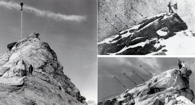 Left: Adams Carter photographs the fake peak from on top of a 40 foot pole in 1957 (Photo: Adams Carter / Bradford Washburn Collection). Top right: Frederick Cook's 1906 photo with key features picked out (Photo: Frederick Cook / Boston Museum of Science). Bottom right: Carter's 1957 photo indicating the same features (Photo: Adams Carter / Boston Museum of Science).