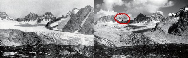 Left: Frederick Cook's 1906 photo of a mountain amphitheatre taken from his Glacier Point campsite and printed in his book (Photo: Frederick Cook / Byrd Polar Research Centre). Right: Bradford Washburn's 1995 recreation. The Ruth Glacier has receded a great deal, but it's clearly the same landscape (Photo: Bradford Washburn)